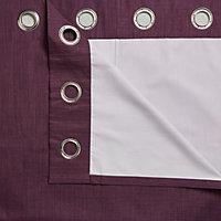 Durene Purple Plain Blackout Eyelet Curtains (W)228cm (L)228cm, Pair