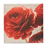 Floral Red & white Canvas art (H)600mm (W)600mm