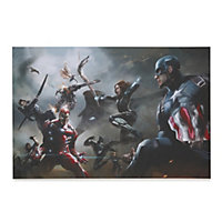 Captain America: Civil War Battle Multicolour Canvas art (W)900mm (H)600mm