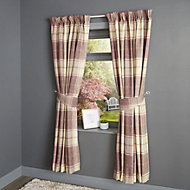 Esmeralda Purple Check Thermal lined Pencil pleat Curtains (W)228cm (L)228cm, Pair