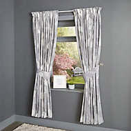 Centola Grey Leaves Lined Pencil pleat Curtains (W)228cm (L)228cm, Pair