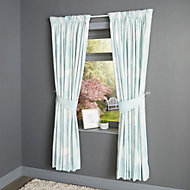 Centola Duck egg Leaves Lined Pencil pleat Curtains (W)228cm (L)228cm, Pair