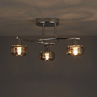 Allyn Clear Chrome & smoked glass 3 Lamp Ceiling light