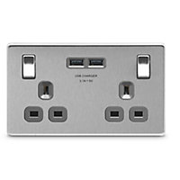 Colours Brushed Steel effect Double USB socket, 2 x 3.1A USB