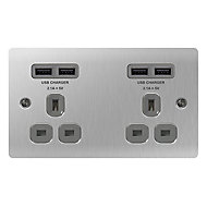 Colours 13A Steel effect Brushed USB socket