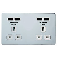 Colours Polished Chrome effect Double USB socket, 4 x 4.2A USB