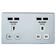 Colours 4.2A Chrome effect Polished USB socket