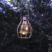 Blooma Ellopos Yellow Rose gold effect Caged Solar powered LED Hanging lantern
