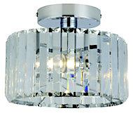 Pereti Brushed Chrome effect 2 Lamp Bathroom Ceiling light