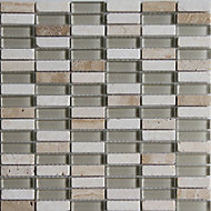 Belluno Beige Glass & marble Mosaic tile, (L)304mm (W)298mm