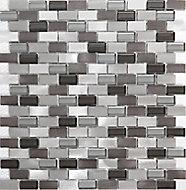 Carini Grey Aluminium Mosaic tile, (L)304mm (W)292mm