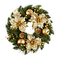 60cm Gold effect Poinsettia Christmas wreath