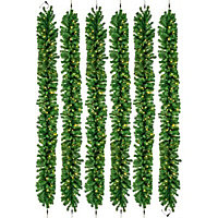2.7m Pre-lit LED connectable Green Christmas garland, Pack of 6