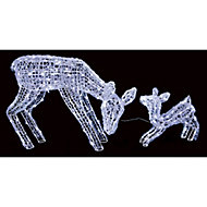 White LED Mother & baby deer Silhouette