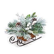 Green & white Glitter effect Frozen cone sleigh Decoration