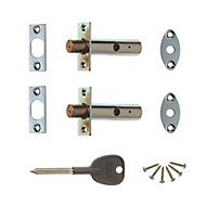 ERA Satin Brass Concealed door bolt (L)78mm, Pack of 2