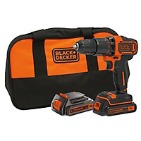 Black & Decker 18V 1.5Ah Li-ion Cordless Drill driver 2 batteries BCD700S2S-BQGB