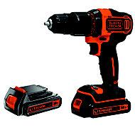 Black & Decker Cordless 18V 1.5Ah Li-ion Brushed Drill 2 batteries BCD700S2S-BQGB