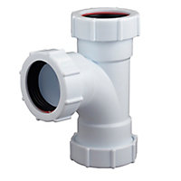 FloPlast Compression Universal waste equal tee (Dia)40mm, White