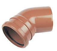 FloPlast Underground Drainage Single socket bend (Dia)110mm, Terracotta