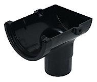 FloPlast Miniflo Gutter stop end outlet (Dia)76 mm, Black