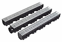 FloPlast Polypropylene & galvanised steel Channel drainage garage pack
