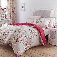 Canterbury Floral Pink, red & white King Bedding set