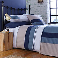 Chartwell Boston Striped Blue King Bedding set