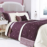 Chartwell Amy Floral Plum & white King Bedding set
