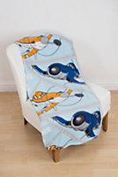 Blue, orange & white Planes Fleece Blanket