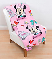 Pink, blue, black & white Minnie Mouse Fleece Blanket
