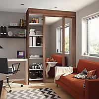 Shaker Mirrored Natural Walnut effect Sliding wardrobe door (H)2220 mm (W)610mm
