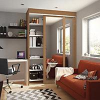 Shaker Mirrored Natural Oak effect Sliding wardrobe door (H)2220 mm (W)610mm