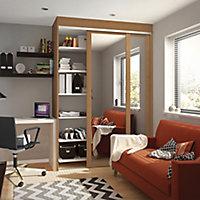 Shaker Natural oak effect Mirrored Sliding Wardrobe Door (H)2220mm (W)610mm