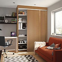 Shaker Natural Oak effect Sliding wardrobe door (H)2260 mm (W)914mm