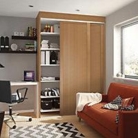 Shaker Natural oak effect Sliding Wardrobe Door (H)2260mm (W)914mm
