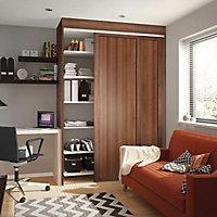 Shaker Natural Walnut effect Sliding wardrobe door (H)2220 mm (W)610mm