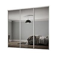 Classic Mirrored Sliding wardrobe door kit (H)2260 mm (W)2672mm, Pack of 3