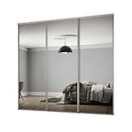 Classic Mirrored Silver effect 3 door Sliding Wardrobe Door kit (H)2260mm (W)2672mm