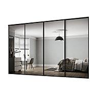 Classic Mirrored Black 4 door Sliding Wardrobe Door kit (H)2260mm (W)2978mm