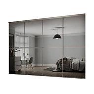 Minimalist Mirrored Grey 4 door Sliding Wardrobe Door kit (H)2260mm (W)2400mm