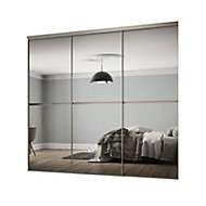 Minimalist Mirrored 3 door Sliding Wardrobe Door kit (H)2260mm (W)2702mm