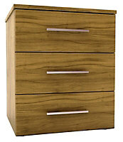 Foil-wrapped particle board 3 Drawer Chest of drawers (H)705mm (W)600mm (D)500mm