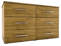 Foil-wrapped particle board 6 Drawer Chest of drawers (H)705mm (W)1200mm (D)500mm