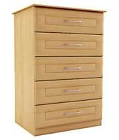 Chasewood Maple effect 5 drawer chest (H)1130mm (W)600mm (D)500mm