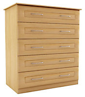 Chasewood Maple effect 5 drawer chest (H)1130mm (W)800mm (D)500mm