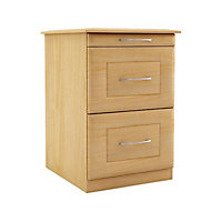 Chasewood Maple effect Top tray 2 drawer chest (H)595mm (W)350mm (D)500mm
