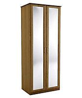 Mirrored Walnut effect Double Wardrobe (H)2250mm (W)900mm (D)580mm