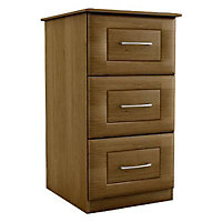 Walnut effect Foil-wrapped particle board 3 Drawer Chest of drawers (H)775mm (W)350mm (D)500mm