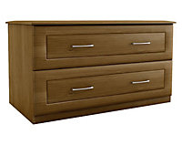 Chasewood Walnut effect 2 drawer chest (H)575mm (W)800mm (D)500mm